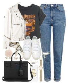 """""""Outfit for a casual day out"""" by ferned ❤ liked on Polyvore featuring Topshop, Harley-Davidson, R13, Casetify, Eddie Borgo, Yves Saint Laurent, Witchery and Furla"""
