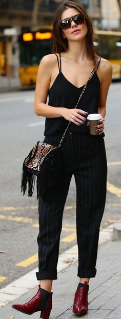Pop Of Burgundy With Total Black Fall Street Style Inspo by Maritsa