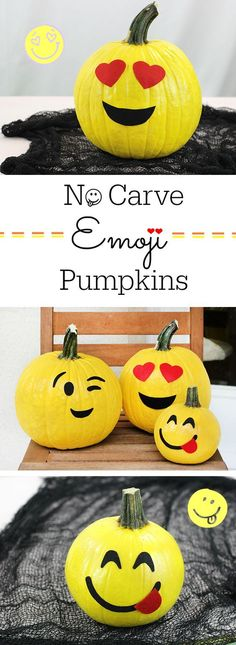 No Carve Emoji Pumpkins. Kid friendly pumpkins that are SO fun and so easy to make for Halloween. Fröhliches Halloween, Holidays Halloween, Halloween Treats, Halloween Pumpkins, Halloween Decorations, Terrifying Halloween, Scary Witch, Halloween Kitchen, Halloween Labels