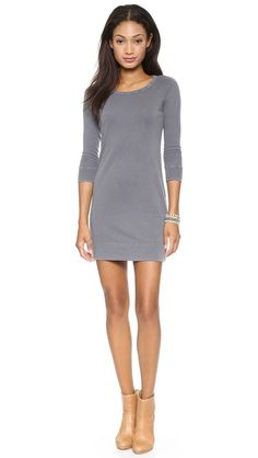The sporty trend crosses over into dresses too! A sweatshirt dress is comfy, cozy and perfect for weekend get togethers! Add boots and a scarf to change up the look! James Perse Raglan Sweatshirt Dress
