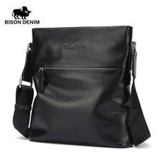 Bison Denim Top cowhide Genuine leather Mens Messenger Bag Small Casual Shoulder Bag Black