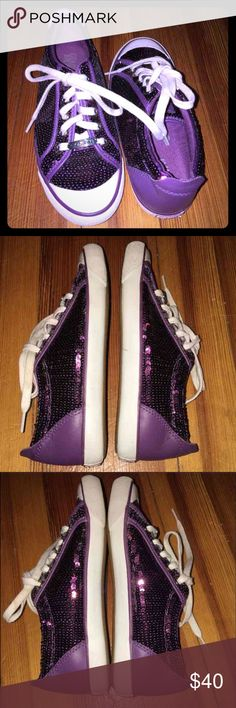 Coach® Barrett Purple Sequence Sneakers Brand new condition, the laces are a little stained purple from the sneakers. Other than that, they are in perfect condition. Size 7B. Very comfortable.  No box Coach Shoes Sneakers