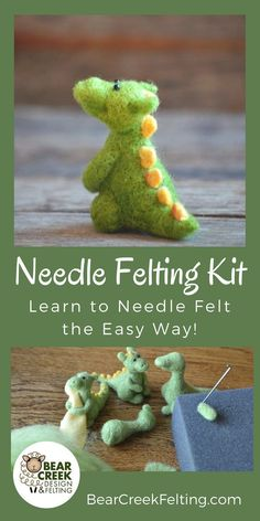 Sewing Techniques Advanced Dragon Needle Felting Kit (Advanced Beginner) - Bear Creek Felting - The Dragon Needle Felting Kit is designed by Felting Artist Teresa Perleberg. Make this adorable dragon with high quality wool and instructions. Easy Felt Crafts, Felt Diy, Crafts For Kids, Arts And Crafts, Diy Crafts, Needle Felting Supplies, Needle Felting Tutorials, Felt Dragon, Hand Made Gifts