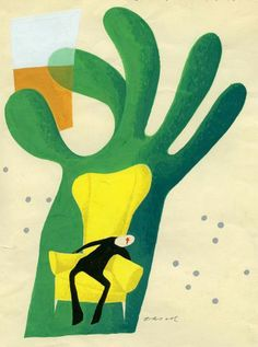 book cover illustration by Olle Eksell in yellow and green