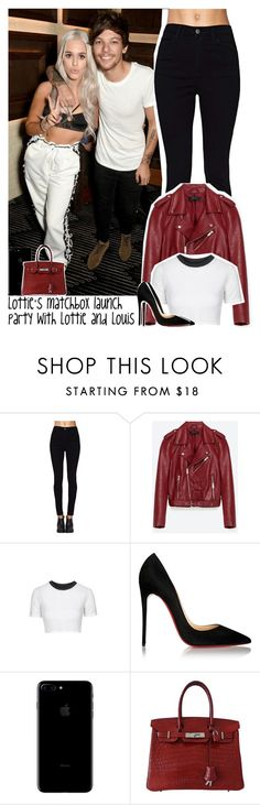 """Lottie's matchbox launch party with Lottie and Louis"" by lottieaf ❤ liked on Polyvore featuring Jakke, Topshop, Christian Louboutin, Hermès, OneDirection, louistomlinson and LottieTomlinson"