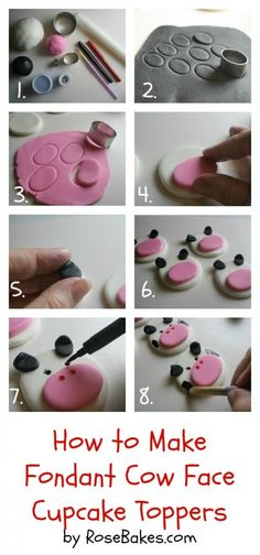 How to Make Fondant Cow Face Cupcake Toppers Farm Animal Cupcake Toppers Series, Part 4 See a list of what youll need and instructions!