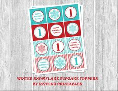 Winter Onederland Snowflake Cupcake Topper by InvitingPrintables, $8.00