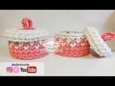 Cesto com tampa com fio de malha | Porta cotonete e algodão | Edi Art Crochê - YouTube