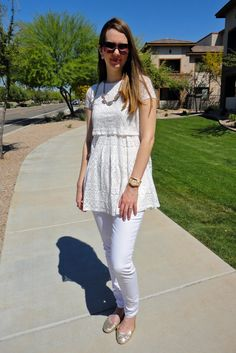 Spring Fashion Lace Tunic, Light Pink Jeans, Statement Necklace, and JORD Wood Watch