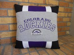 Colorado Rockies Pro Baseball T-Shirt Pillow 18 by MossReCreations