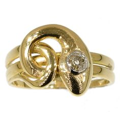 Antique snake ring diamond yellow gold by adinantiquejewellery