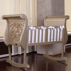 This is ridiculously good looking. WANT!  Bratt Decor Chelsea Cradle in Antique Silver from PoshTots.