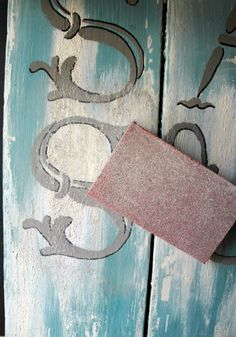 "How to create a weathered ""beach washed"" stenciled paint finish.  Tutorial on the Artisan Enhancements Blog.  Vintage Alphabet Stencil Set by Artisan Enhancements."