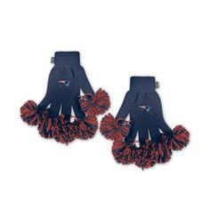 New England Patriots NFL Spirit Fingerz Embroidered Pom Gloves
