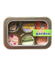 Another great find on #zulily! In the Garden Bottle-Cap Magnet Set #zulilyfinds