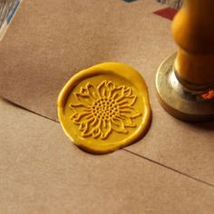 Sunflower+Wax+Seal+Stamp+flower+Sealing+wedding+invitation+brass+wax+stamp+WS16+#Unbranded