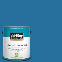 BEHR Premium Plus 1-gal. #550B-7 Blue Ocean Zero VOC Satin Enamel Interior Paint