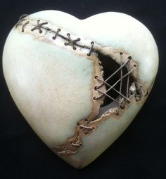 Valentines Heart wall plaque ceramic stiched with by HereNorTherey