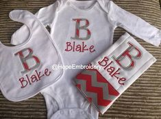 Monogrammed Chevron Boy Burp Cloth Bodysuit and by HopeEmbroidery, $35.00