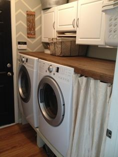 Wooden countertop for laundry