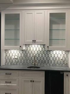 Fav Pale Blue Tile Backsplash With White Grout Against