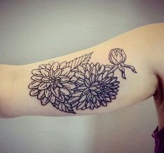 Linework Flowers Tattoo on Arm
