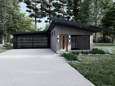 075H-0028: Narrow Lot Contemporary House Plan House Plans 3 Bedroom, Duplex House Plans, Family House Plans, Ranch House Plans, Contemporary Style Homes, Contemporary House Plans, Contemporary Design, Narrow Lot House Plans, Roof Design