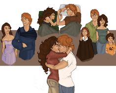 Happy Endings: Scenes from Book 7 (& epilogue) | Ron & Hermione Artwork by MioneBookworm