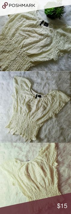 New Directions Lace Top Feminine Lacey cream top. Bottom is stretchy. Gently used. Size Small new directions Tops Blouses