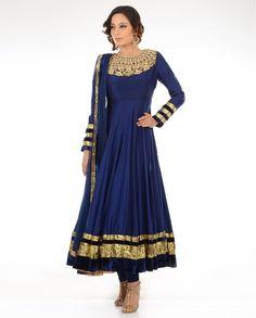 Navy Blue Suit With Zari Yoke - Buy Aneesh Agarwaal* Online Lehenga, Anarkali Dress, Anarkali Suits, White Anarkali, Punjabi Suits, Indian Attire, Indian Wear, Pakistani Outfits, Indian Outfits