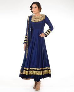 Royal blue /gold anarkali