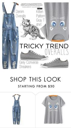 """""""Tricky Trend: Overalls"""" by vanjazivadinovic ❤ liked on Polyvore featuring Converse and Whiteley"""