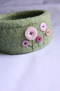 LIME RIOT: Embellished Felted Bowl