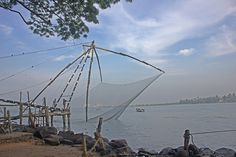 Chinese fishing nets have been in use for the last 500 years. Called 'Cheena Vala' in Kochi, the huge cantilevered fishing nets are believed to have been brought by Portuguese from Macau, once a Portuguese colony.     http://bamboonets.com/netting-techniques-2/