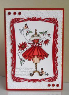 - Fabulous Festive Fashion - Color Idea for Invitations Card Making Inspiration, Christmas Inspiration, Making Ideas, Handmade Christmas Crafts, Christmas Paper Crafts, Tattered Lace Cards, Winter Cards, Copics, Hobbies And Crafts