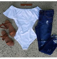 Cute outfit- white bodysuit