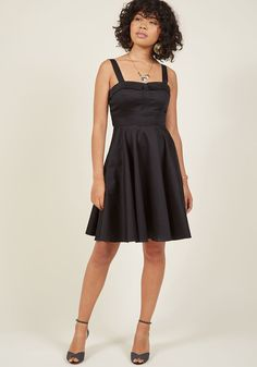 Pull Up a Cherry A-Line Dress in Noir | ModCloth