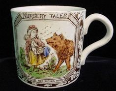 """""""In The Wood"""" inch saucer, ca. the wolf running off to granny's house while Little Red pic. Little Pigs, Little Red, Grimm, Red Riding Hood Wolf, Childrens Cup, Guys And Dolls, Antique China, Antique Toys, Painting Inspiration"""