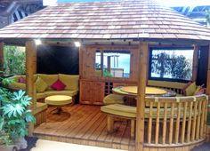 The Oval Safari Breeze House House Fence Design, Home Garden Design, Patio Design, Kitchen Bar Design, Summer House Garden, Pergola Pictures, Bamboo House, Timber Deck, Backyard Playground