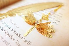 Dragonfly Bookmark Outlander Bookmark Gold Feather by ChusCraft