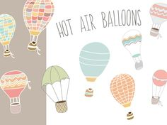 This Hot Air Balloon Vector & Clip Art Images are Just Too Cute! Comes in the Style Shown and Not Shown. Perfect for Invitations, Web Elements and More!