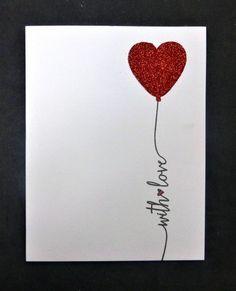 CAS with love heart balloon card by Sallie Birthday Cards For Boyfriend, Birthday Cards For Friends, Handmade Birthday Cards, Valentine Day Cards, Valentine Crafts, Love Cards, Diy Cards, Diy Gift For Bff, Heart Cards