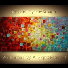 Abstract Painting Original Art Multicolored Textured Painting on Canvas Ready to Hang 48x24 by Susanna