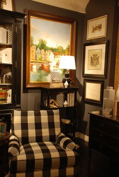 Deep, dark charcoal gray is really big Abbey Steps by Nell's Hill. This dramatic, moody color looks amazing paired with Farm House White and Garrity Cream, providing a startling light-dark contrast. Dark colors like Abbey Steps call for light colored furniture, like a white, light yellow or dove gray sofa.
