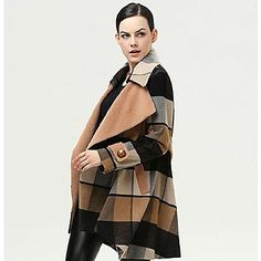 Women's Ln The Long Section Of Loose Plaid Wool Coat Outerwear - USD $ 60.59