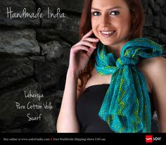 Leheriya Pure Cotton Voile Scarf. All in pure cotton voiles with minimalistic usage of any source of energy, they uphold the need of eco friendly and carbon neutral products. Unknowingly.  Grace yourself with any of these scarves; you would contribute to humanity, in many a way. Buy Online. Ship Worldwide. http://soilofindia.com/leheriya-blue-mustard-pure-cotton-voile-scarf.html