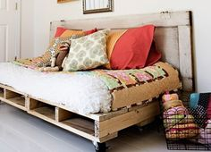 DIY pallet project - Bed In essence, you will be making something similar to the table mentioned above. This pallet bed, however, should be much longer and lower. The tutorial is for a kid's bed but you can easily modify the tutorial to make an adult-sized version. Again, painting the finished item is highly-recommended if you don't want the weathered look of pallets.