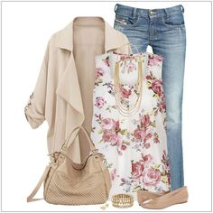 CHATA'S DAILY TIP: We love this fresh spring ensemble. A gorgeous floral top is a season must-have. Combine with medium shade jeans and a soft nude waterfall jacket for chilly days, or nights. Complete with nude accessories and delicate gold accessories for the ultimate fashionably feminine look. COPY CREDIT: Chata Romano Image Consultant, Karyn Lindes http://chataromano.com/consultant/karyn-lindes/ IMAGE CREDIT: Pinterest #imageconsultant #colour #style #fashion