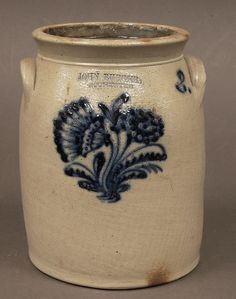 Antique Cobalt Decorated Stoneware, Two Gallon Crock ~ by John Burger of Rochester . Antique Crocks, Old Crocks, Antique Stoneware, Stoneware Crocks, Antique Pottery, Blue Pottery, Stoneware Clay, Earthenware, Pottery Art
