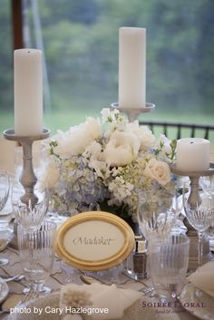 blue and white centerpiece by Soiree Floral